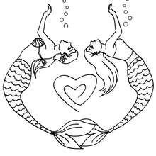2 sirènes forment un coeur avec leur corps - Coloriage - Coloriage GRATUIT - Coloriage PERSONNAGE IMAGINAIRE - Coloriage SIRENE