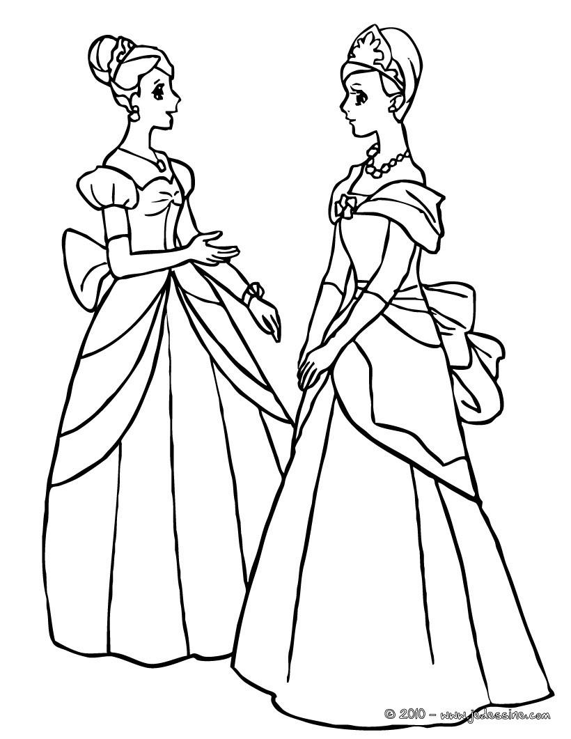 Coloriage : 2 belles princesses dans leurs robes