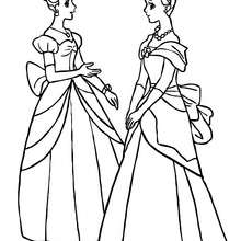 2 belles princesses dans leurs robes - Coloriage - Coloriage PRINCESSE - Coloriage PRINCES ET PRINCESSES