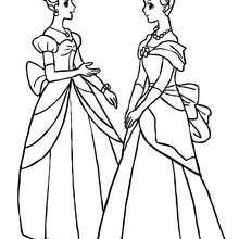 2 belles princesses dans leurs robes - Coloriage - Coloriage PRINCESSE - Coloriage PRINCES ET PRINCESSES