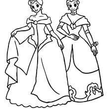 2 princesses font la rvrence - Coloriage - Coloriage PRINCESSE - Coloriage PRINCES ET PRINCESSES