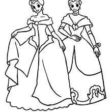 2 princesses font la révérence - Coloriage - Coloriage PRINCESSE - Coloriage PRINCES ET PRINCESSES