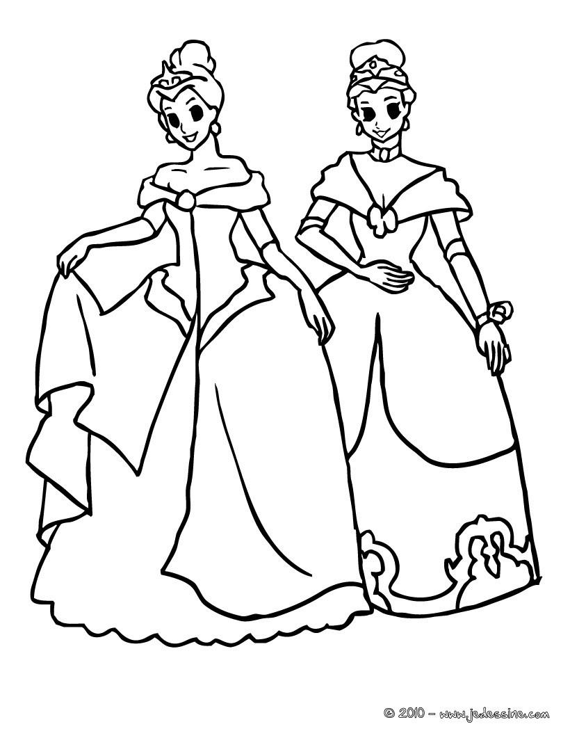 Coloriage : 2 princesses font la révérence