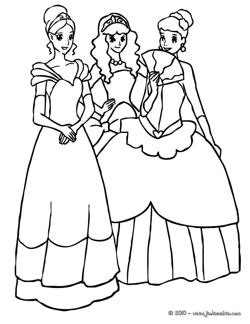 Coloriage : 3 belles princesses jouent ensemble