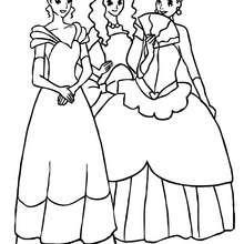 3 belles princesses jouent ensemble - Coloriage - Coloriage PRINCESSE - Coloriage PRINCES ET PRINCESSES