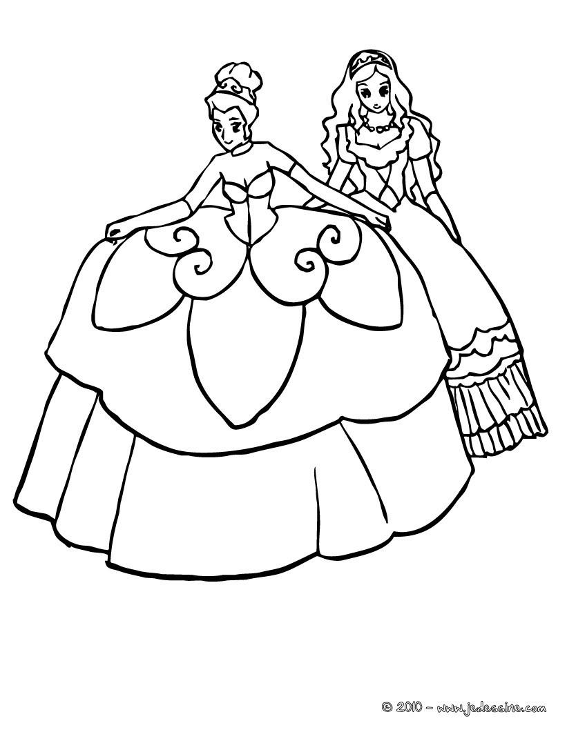Coloriage : Une princesse et sa grande robe