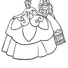 Une princesse et sa grande robe - Coloriage - Coloriage PRINCESSE - Coloriage PRINCES ET PRINCESSES