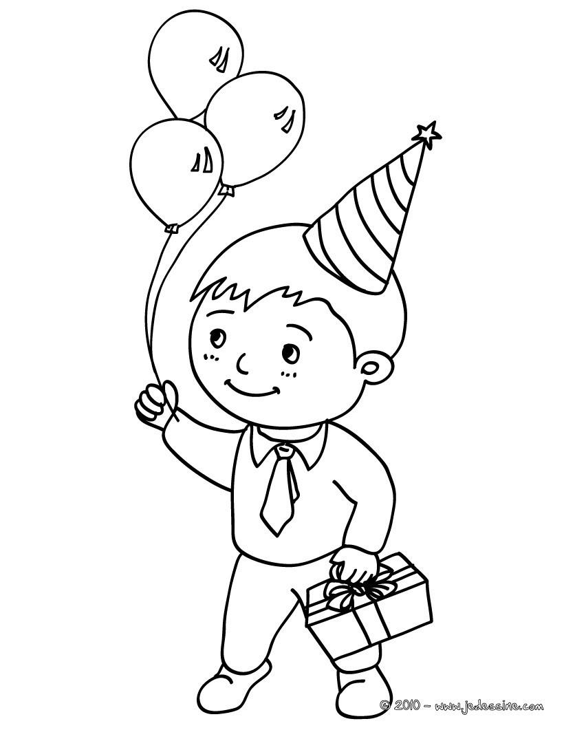 Coloriage Petit gar§on avec son cadeau d anniversaire et 3 ballons gonflables