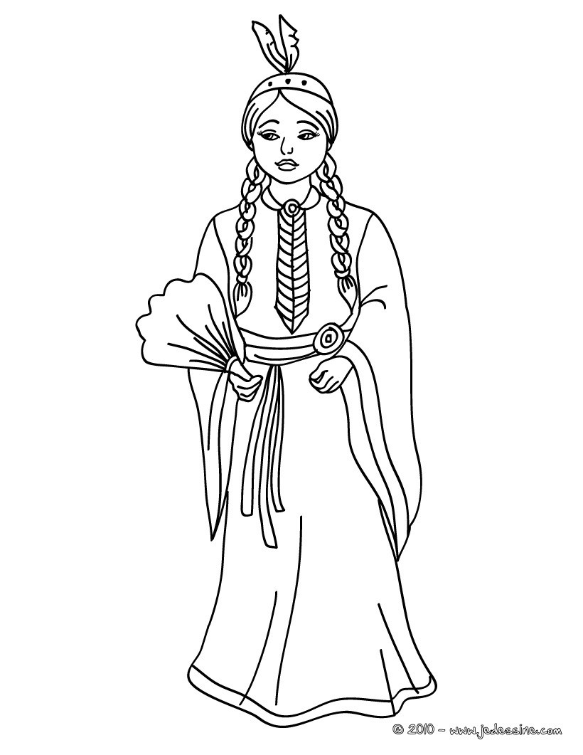 Coloriages princesse indienne commanche - Coloriages princesse ...