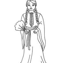 Princesse indienne commanche - Coloriage - Coloriage PRINCESSE - Coloriage PRINCES ET PRINCESSES