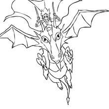 Coloriage : Chevalier sur son dragon