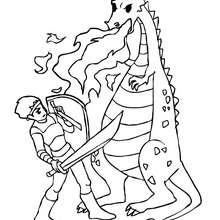 Un chevalier qui combat les flammes du dragon - Coloriage - Coloriage GRATUIT - Coloriage PERSONNAGE IMAGINAIRE - Coloriage CHEVALIERS ET DRAGONS