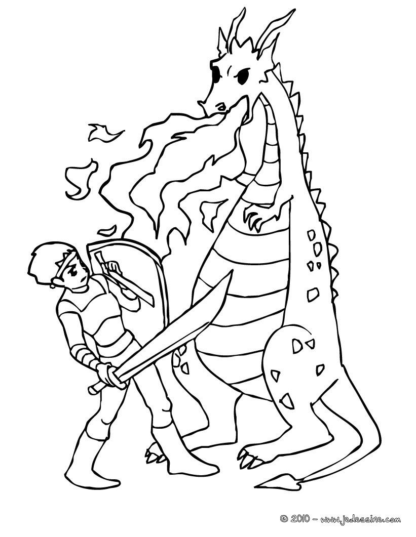 Coloriage Chevalier.Coloriages Dragons Et Chevaliers Fr Hellokids Com