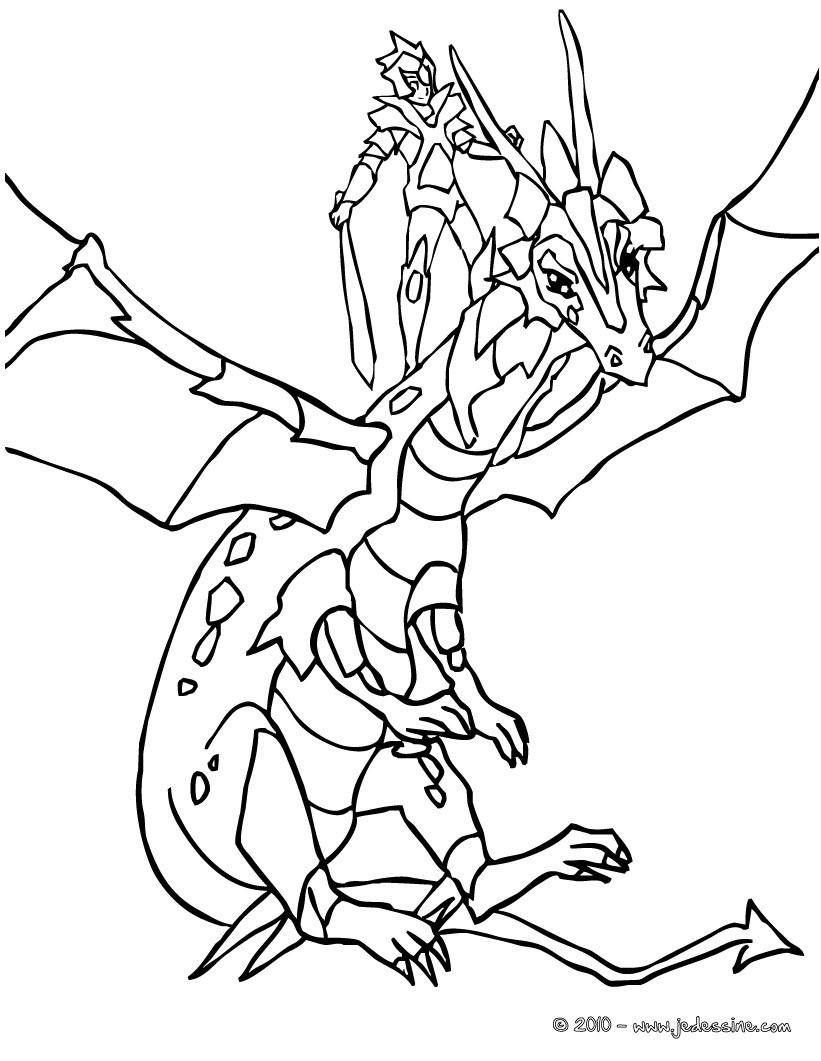 Coloriages chevalier sur son dragon en armure - Dessin armure ...