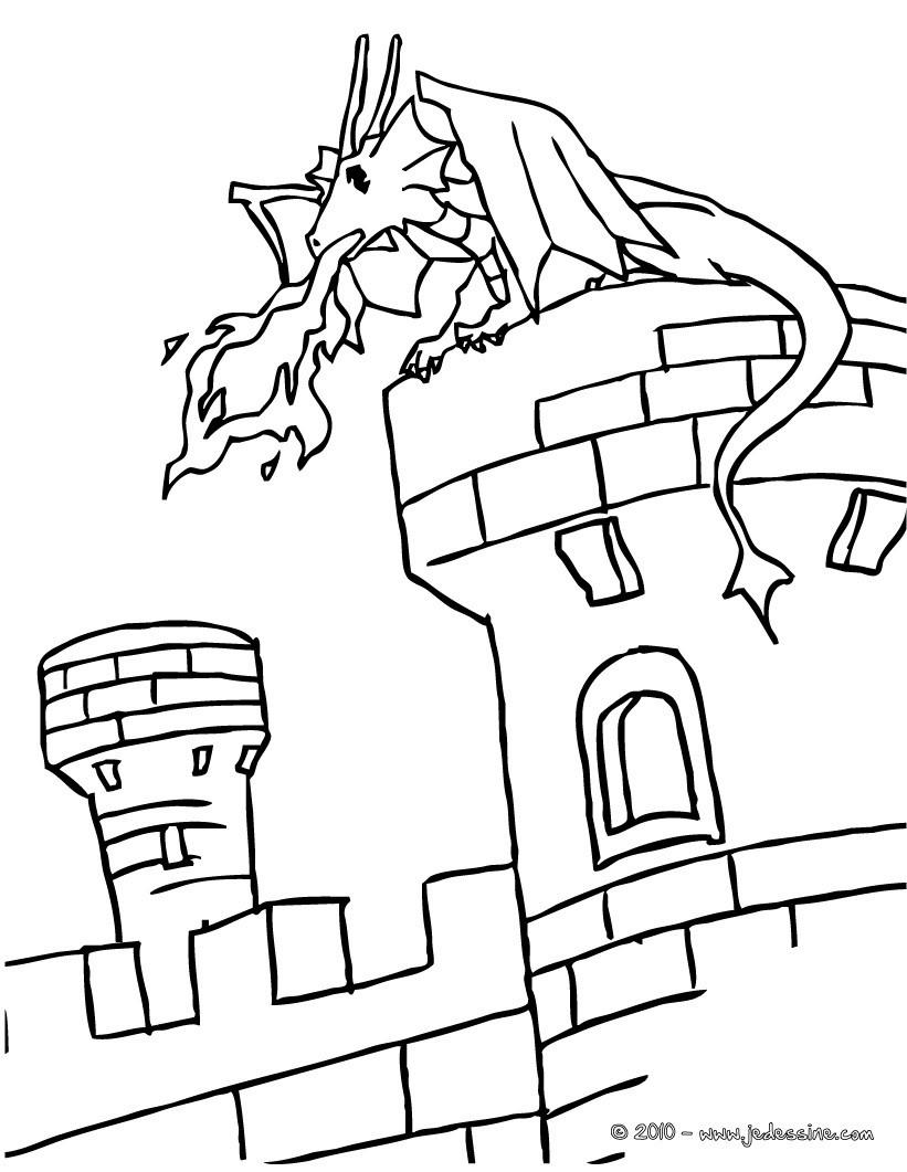 Coloriage Un dragon sur un chateau fort