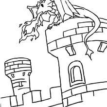 Coloriage : Un dragon sur un chateau fort