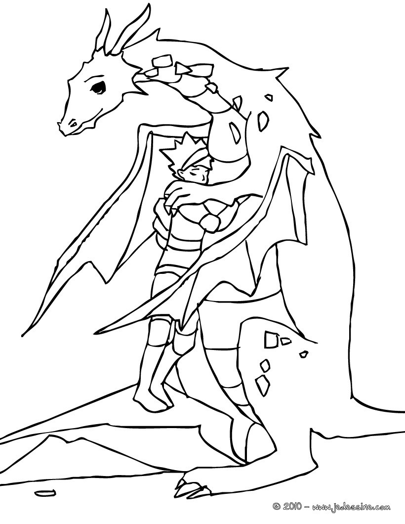 Coloriages le chevalier fait un calin au dragon fr - Dessin de calin ...