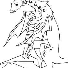 Coloriage : Le chevalier fait un calin au dragon