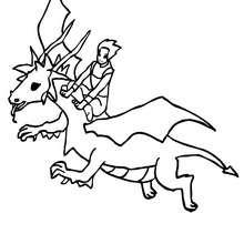 dragon volant et son chevalier - Coloriage - Coloriage GRATUIT - Coloriage PERSONNAGE IMAGINAIRE - Coloriage CHEVALIERS ET DRAGONS