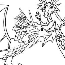 Coloriage : Dragon et chevalier attaquent un méchant dragon