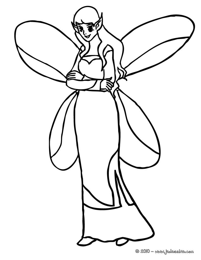 Coloriage : Elf  avec ses oreilles pointues et ses ailes