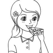 Coloriage : Fille qui mange une part de gâteau d'anniversaire