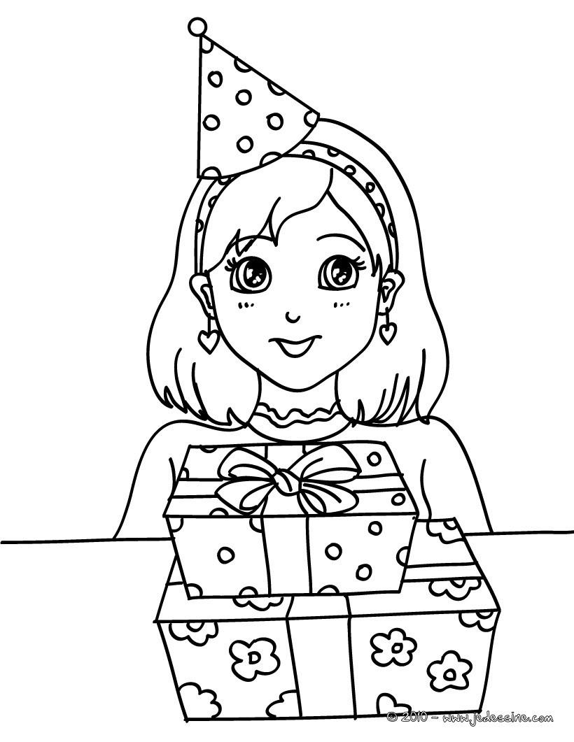 Coloriages petite fille avec ses cadeaux d 39 anniversaire - Coloriage pour petite fille ...