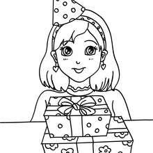Coloriage : Petite fille avec ses cadeaux d'anniversaire
