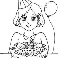Coloriage : Fille avec son gâteau d'anniversaire