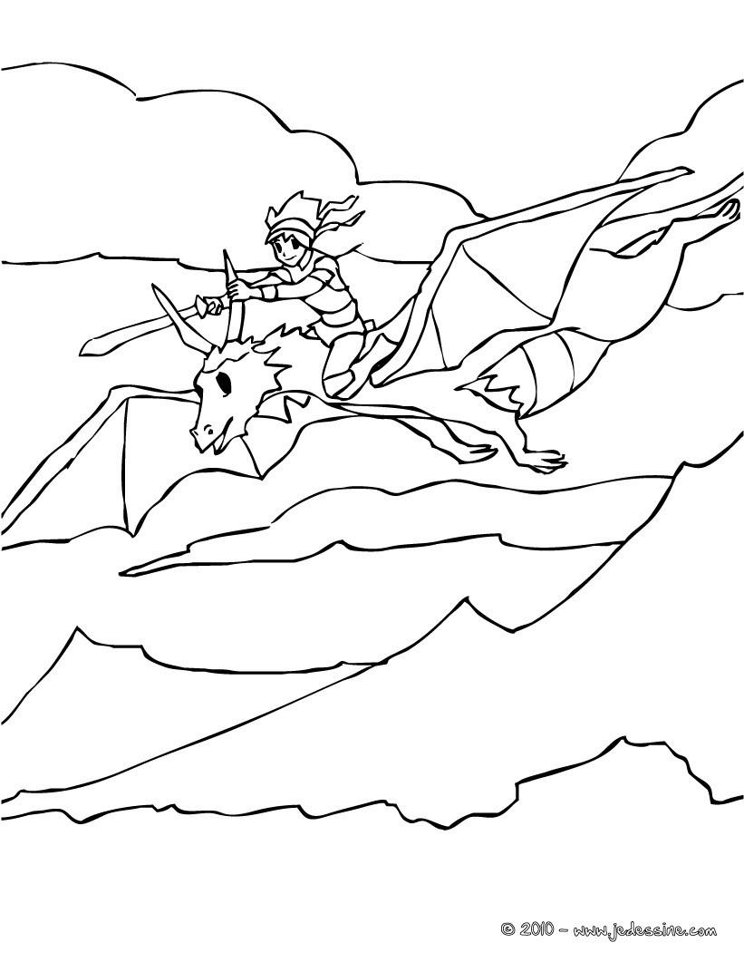 Ausmalbilder Lego Elves Drachen: Coloriages Le Gentil Chevalier Sur Son Dragon Volant