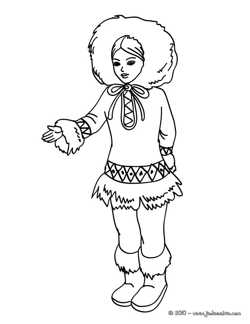 Coloriages princesse inuit kawai for Eskimo coloring page