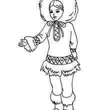 Princesse inuit  kawai - Coloriage - Coloriage PRINCESSE - Coloriage PRINCES ET PRINCESSES