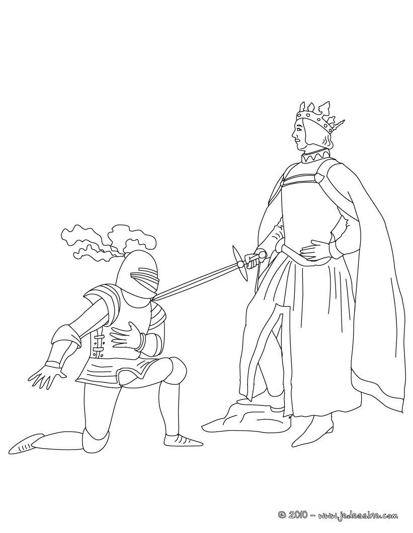Coloriages un chevalier se fait adouber - Dessin chevalier ...