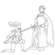Coloriage : Un chevalier se fait adouber