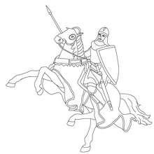 chevalier en armure sur son cheval - Coloriage - Coloriage GRATUIT - Coloriage PERSONNAGE IMAGINAIRE - Coloriage CHEVALIERS ET DRAGONS