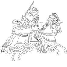 chevalier en armure sur son cheval qui court - Coloriage - Coloriage GRATUIT - Coloriage PERSONNAGE IMAGINAIRE - Coloriage CHEVALIERS ET DRAGONS