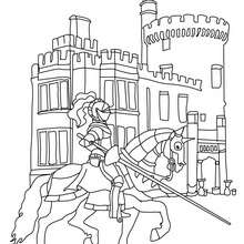 Coloriage : Le chevalier arrive au chateau