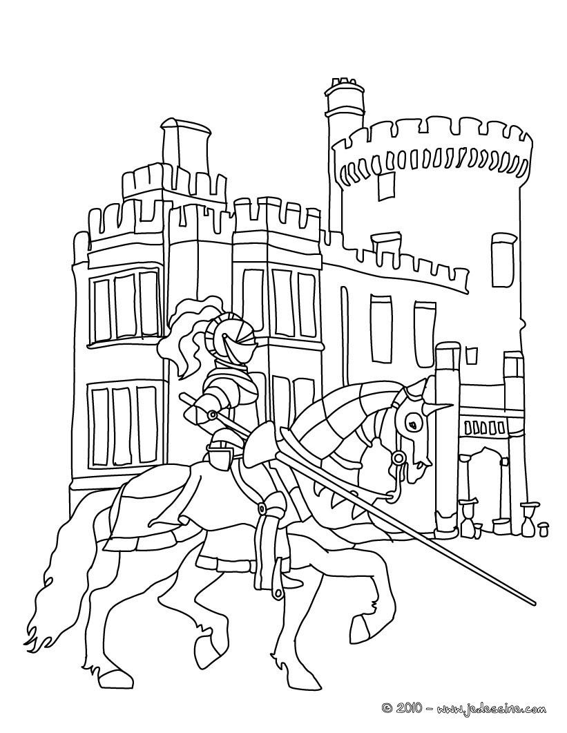 Coloriage En Ligne Gratuit Chateau.Coloriages Le Chevalier Arrive Au Chateau Fr Hellokids Com