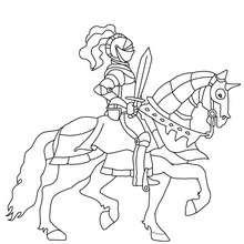 Coloriage : Chevalier avec son épée sur son cheval