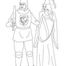 Le chevalier sauve une princesse - Coloriage - Coloriage GRATUIT - Coloriage PERSONNAGE IMAGINAIRE - Coloriage CHEVALIERS ET DRAGONS