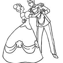La princesse et le prince dansent ensemble - Coloriage - Coloriage PRINCESSE - Coloriage PRINCES ET PRINCESSES