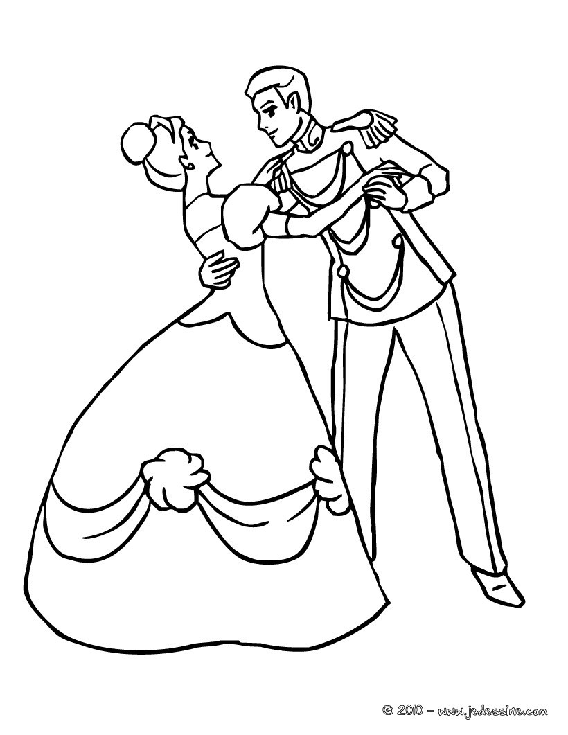 Coloriage : La princesse et le prince dansent ensemble