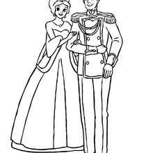 La princesse et le prince sont amoureux - Coloriage - Coloriage PRINCESSE - Coloriage PRINCES ET PRINCESSES