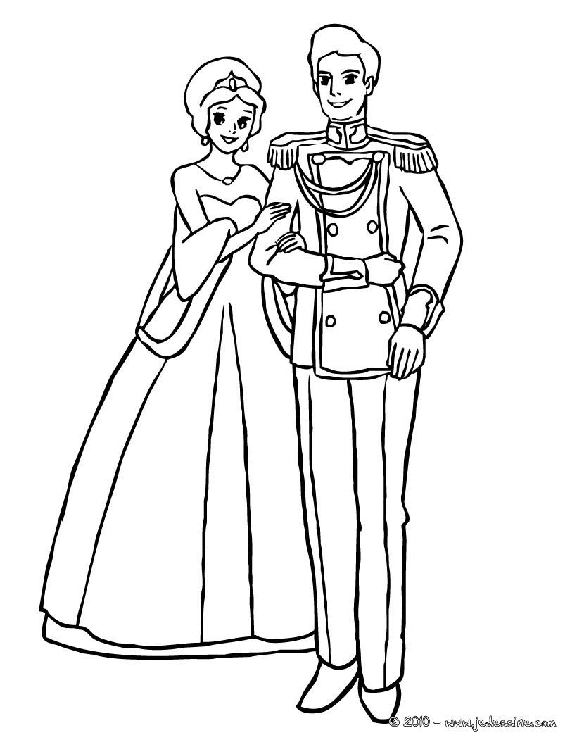 Coloriages la princesse et le prince sont amoureux fr - Prince et princesse dessin ...