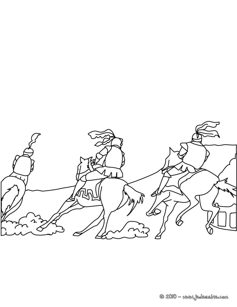 Coloriage : les chevaliers et leurs chevaux