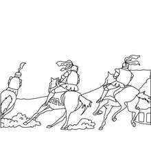 les chevaliers et leurs chevaux - Coloriage - Coloriage GRATUIT - Coloriage PERSONNAGE IMAGINAIRE - Coloriage CHEVALIERS ET DRAGONS