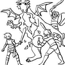 Plusieurs chevaliers attaquent un dragon - Coloriage - Coloriage GRATUIT - Coloriage PERSONNAGE IMAGINAIRE - Coloriage CHEVALIERS ET DRAGONS