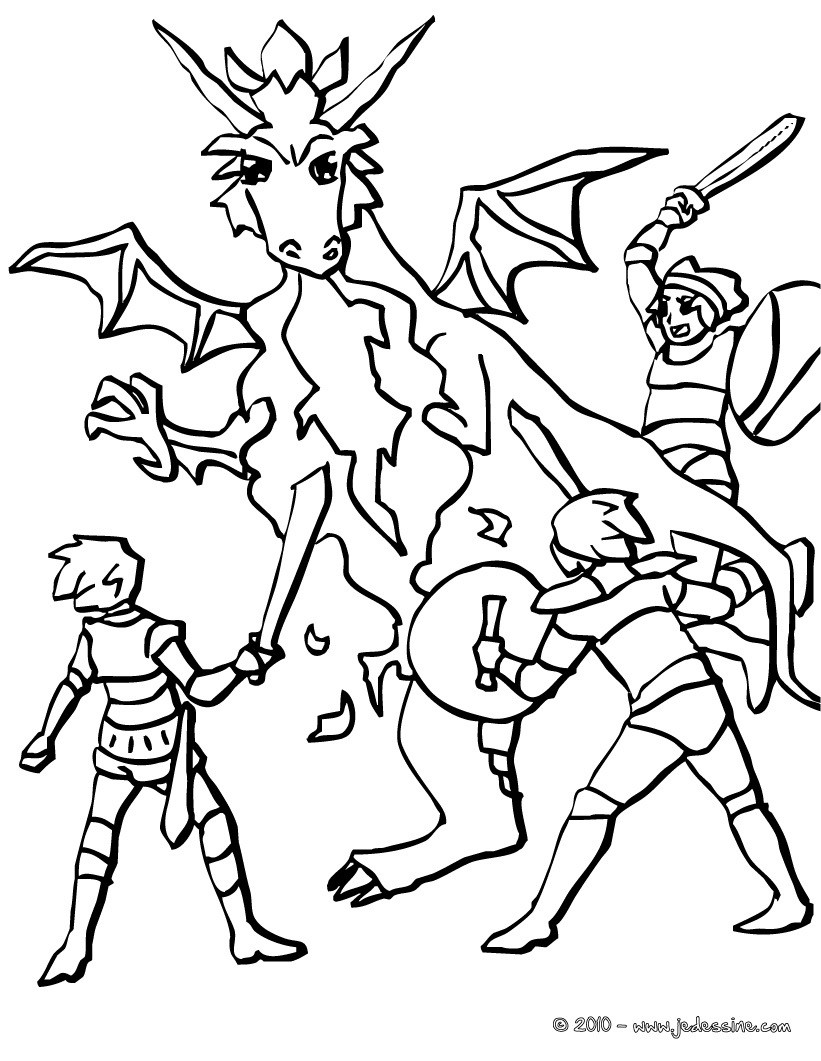 Coloriages plusieurs chevaliers attaquent un dragon - Coloriage chevaliers ...