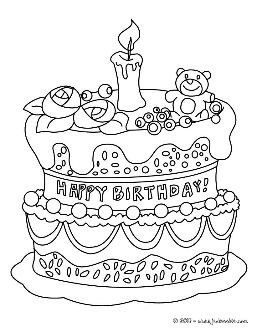 Coloriages coloriage gateau - Dessin a imprimer anniversaire ...