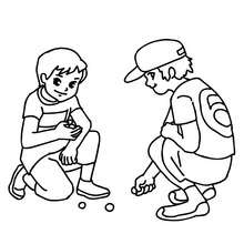 Coloriage du JEU DE BILLES - Coloriage - Coloriage GRATUIT - Coloriage RENTREE SCOLAIRE - Coloriage COUR DE RECREATION